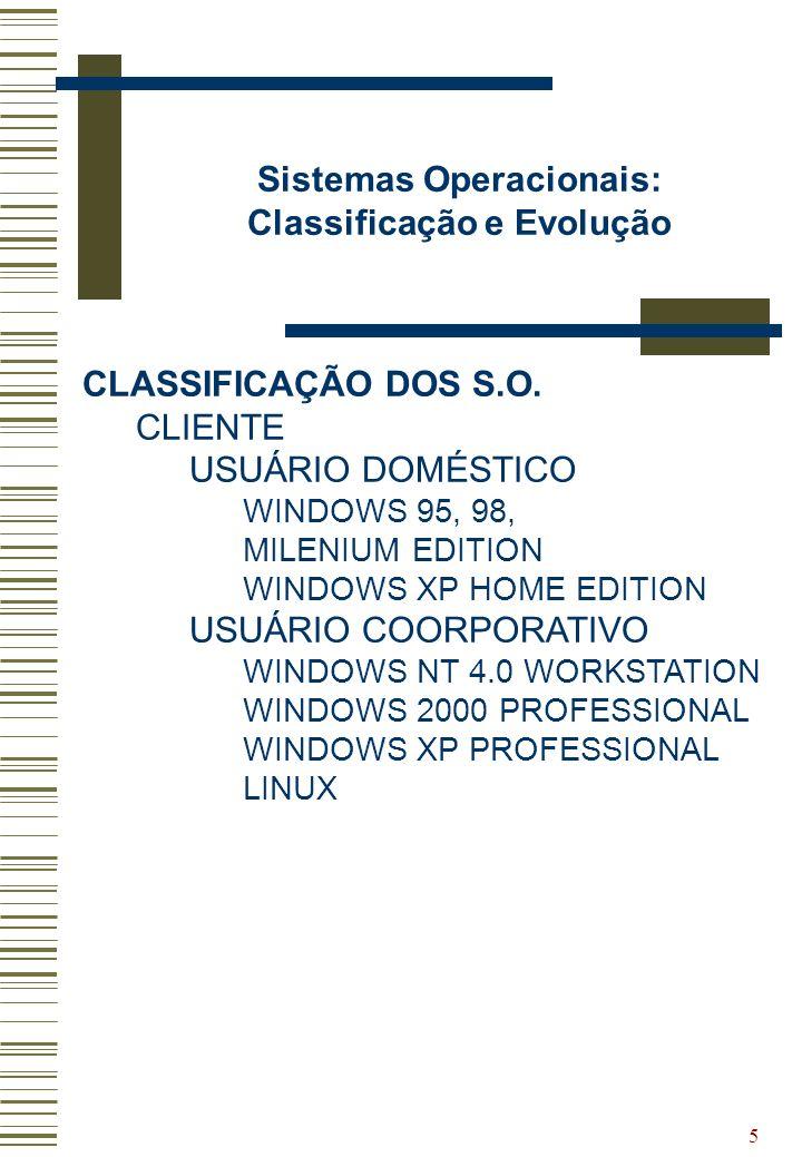 5 Sistemas Operacionais: Classificação e Evolução CLASSIFICAÇÃO DOS S.O. CLIENTE USUÁRIO DOMÉSTICO WINDOWS 95, 98, MILENIUM EDITION WINDOWS XP HOME ED