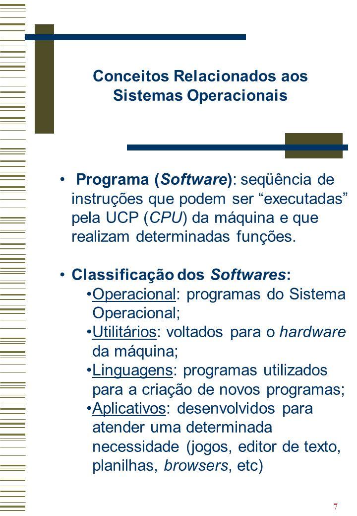 7 Conceitos Relacionados aos Sistemas Operacionais Programa (Software): seqüência de instruções que podem ser executadas pela UCP (CPU) da máquina e q
