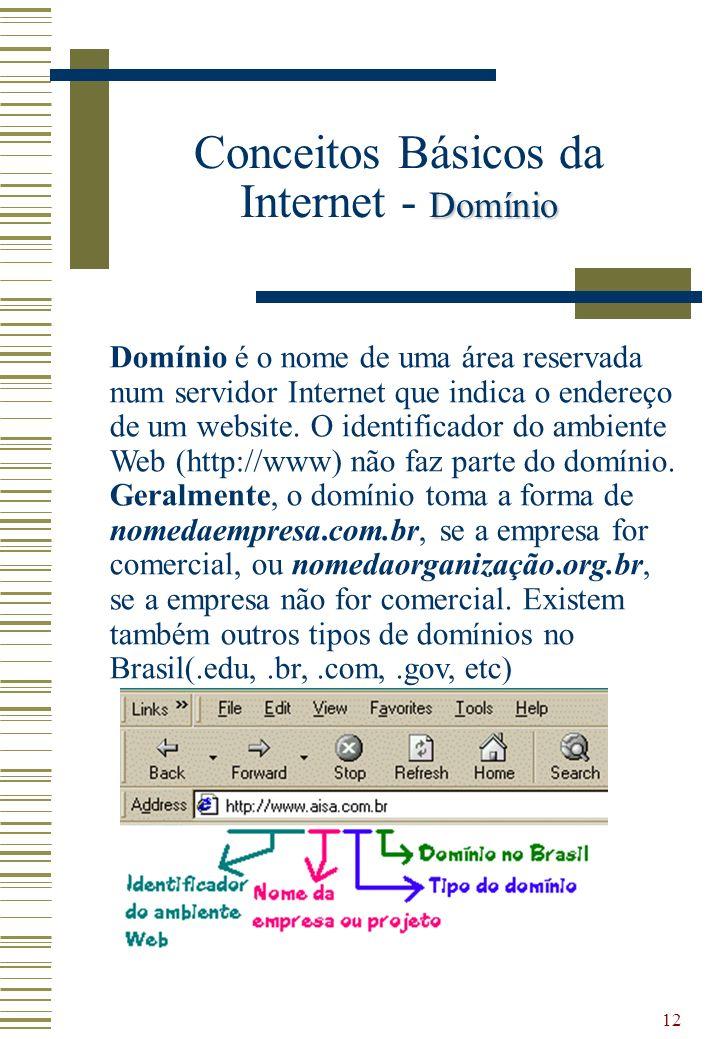 12 Domínio é o nome de uma área reservada num servidor Internet que indica o endereço de um website. O identificador do ambiente Web (http://www) não