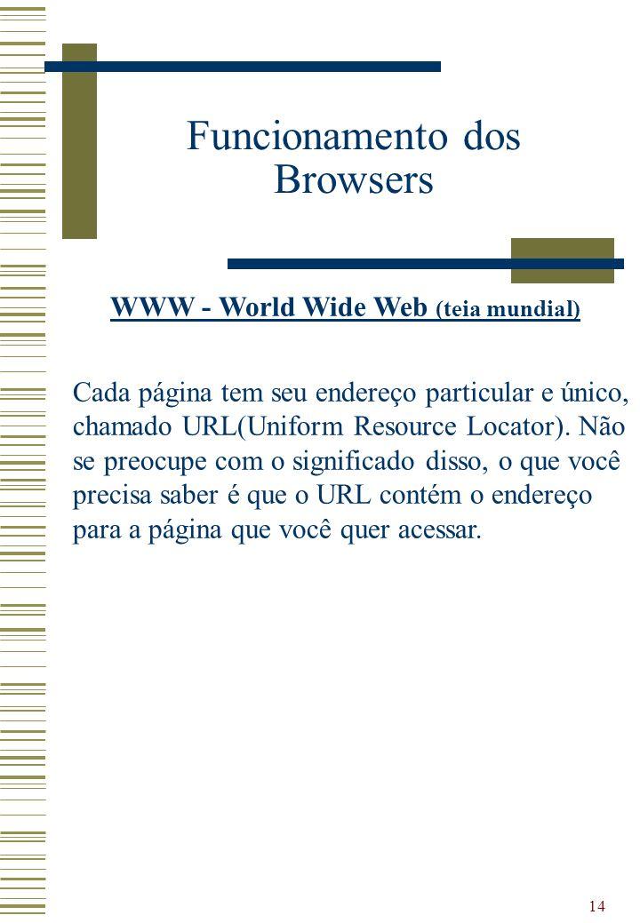 14 Funcionamento dos Browsers WWW - World Wide Web (teia mundial) Cada página tem seu endereço particular e único, chamado URL(Uniform Resource Locato