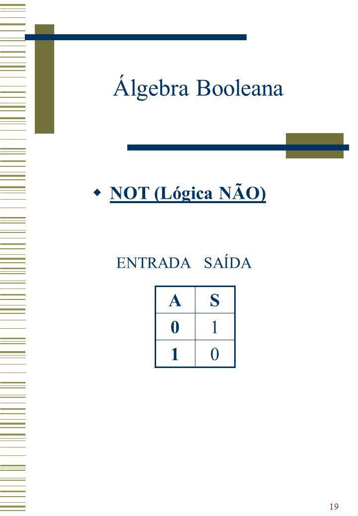 19 Álgebra Booleana NOT (Lógica NÃO) 01 10 SA ENTRADASAÍDA