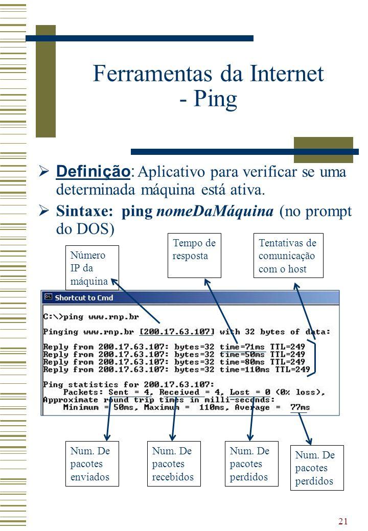 21 Ferramentas da Internet - Ping Definição: Aplicativo para verificar se uma determinada máquina está ativa. Sintaxe: ping nomeDaMáquina (no prompt d