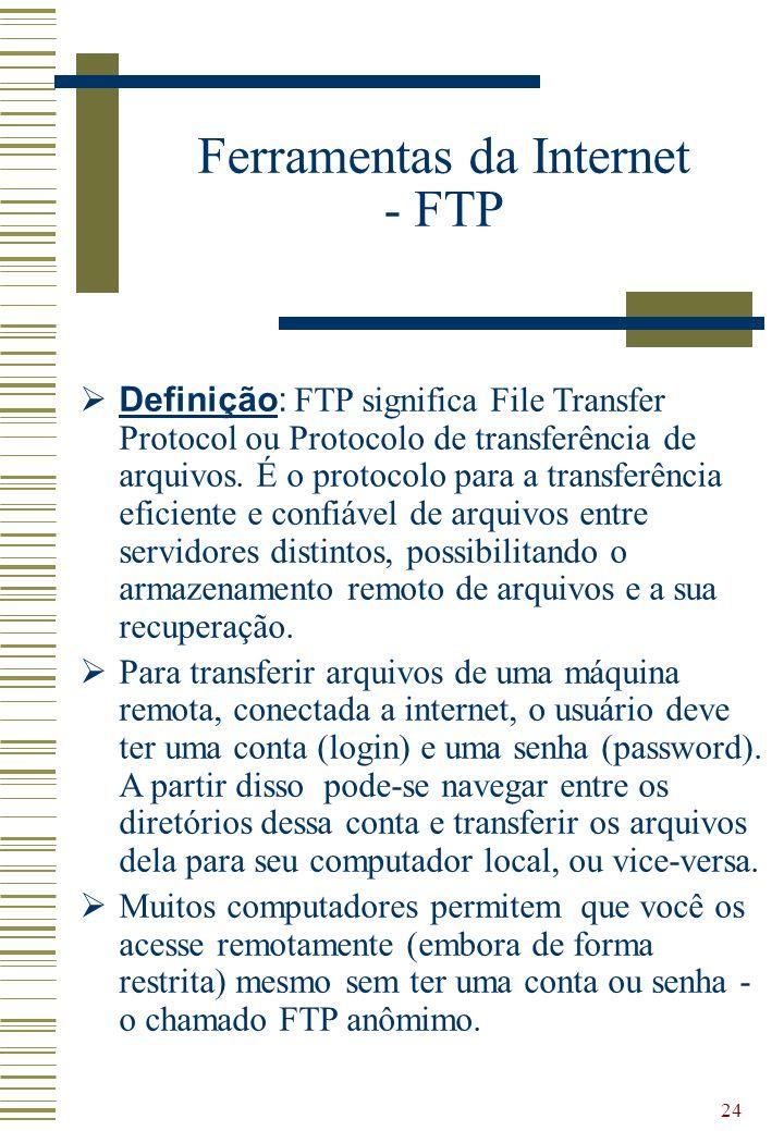 24 Ferramentas da Internet - FTP Definição: FTP significa File Transfer Protocol ou Protocolo de transferência de arquivos. É o protocolo para a trans