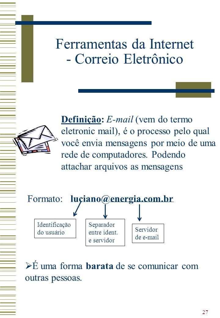 27 Ferramentas da Internet - Correio Eletrônico Formato: luciano@energia.com.br Identificação do usuário Separador entre ident. e servidor Servidor de