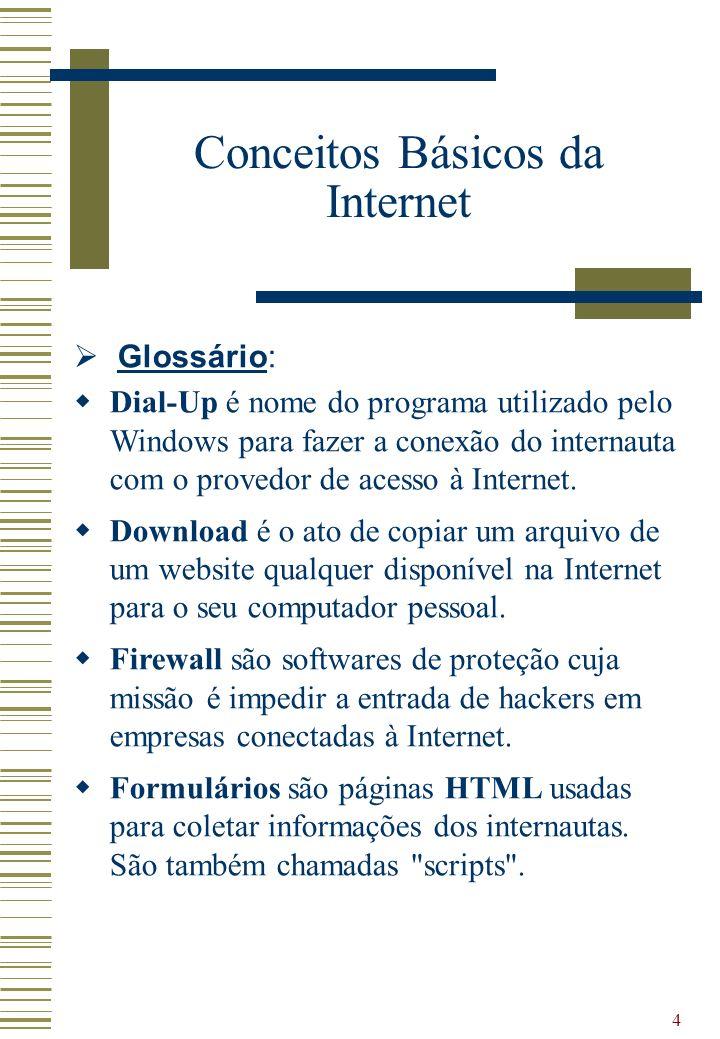4 Glossário: Dial-Up é nome do programa utilizado pelo Windows para fazer a conexão do internauta com o provedor de acesso à Internet. Download é o at