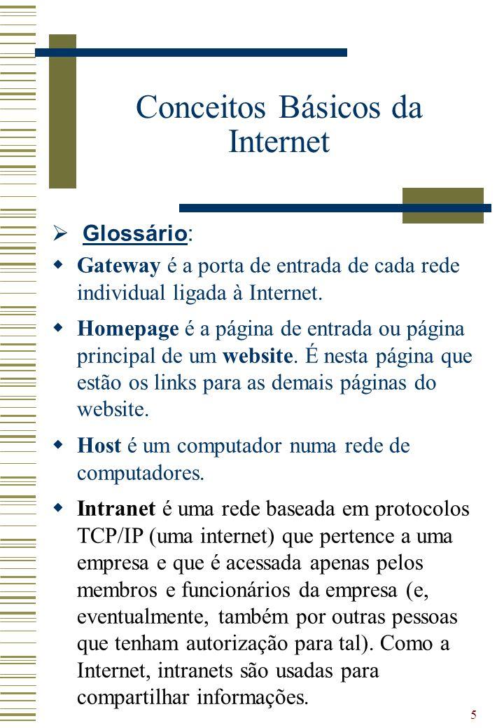 5 Glossário: Gateway é a porta de entrada de cada rede individual ligada à Internet. Homepage é a página de entrada ou página principal de um website.
