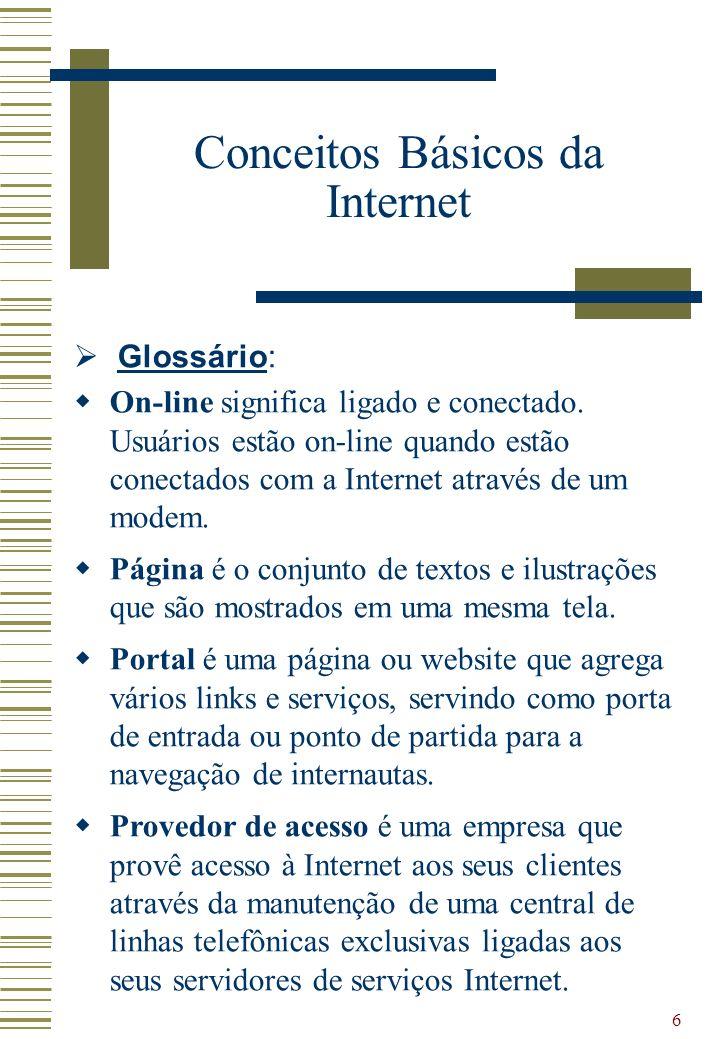 6 Glossário: On-line significa ligado e conectado. Usuários estão on-line quando estão conectados com a Internet através de um modem. Página é o conju