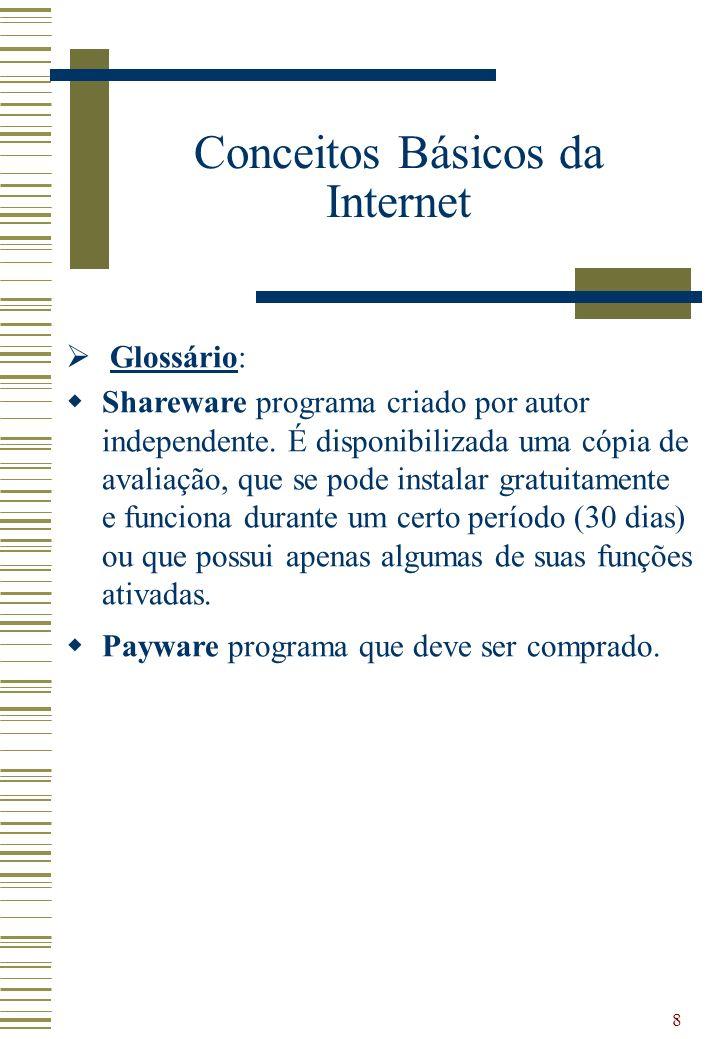 9 Funcionamento Conceitos Básicos da Internet - Funcionamento Conexão telefone/cabo/rádio (56 Kbps à 256 MBps) Conexão dedicada (64 Kbps à 2MBps) Conexão dedicada (2 Mbps) Backbone Internet2 155 MBps Internet2 155 MBps Usuário Provedor EUAEmbratel/RNP