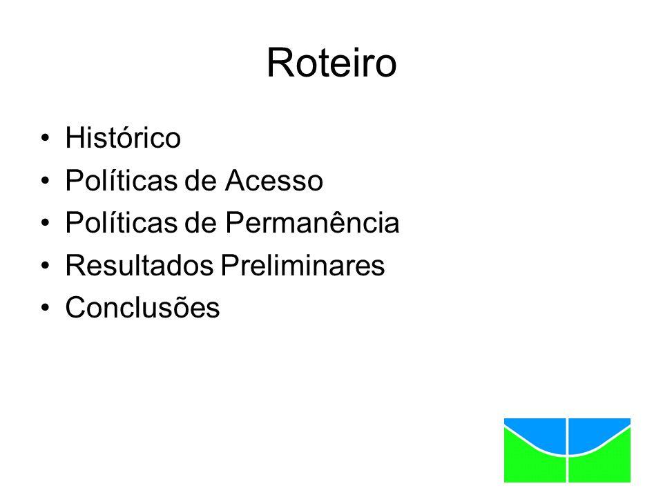 Roteiro Histórico Políticas de Acesso Políticas de Permanência Resultados Preliminares Conclusões