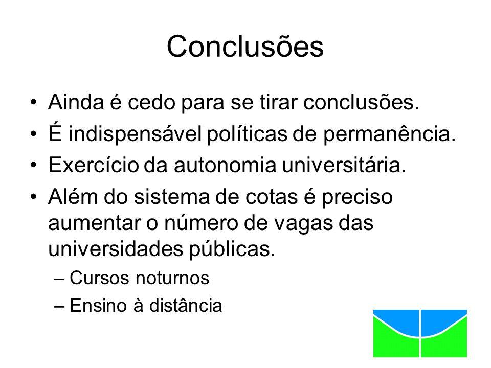 Conclusões Ainda é cedo para se tirar conclusões. É indispensável políticas de permanência.