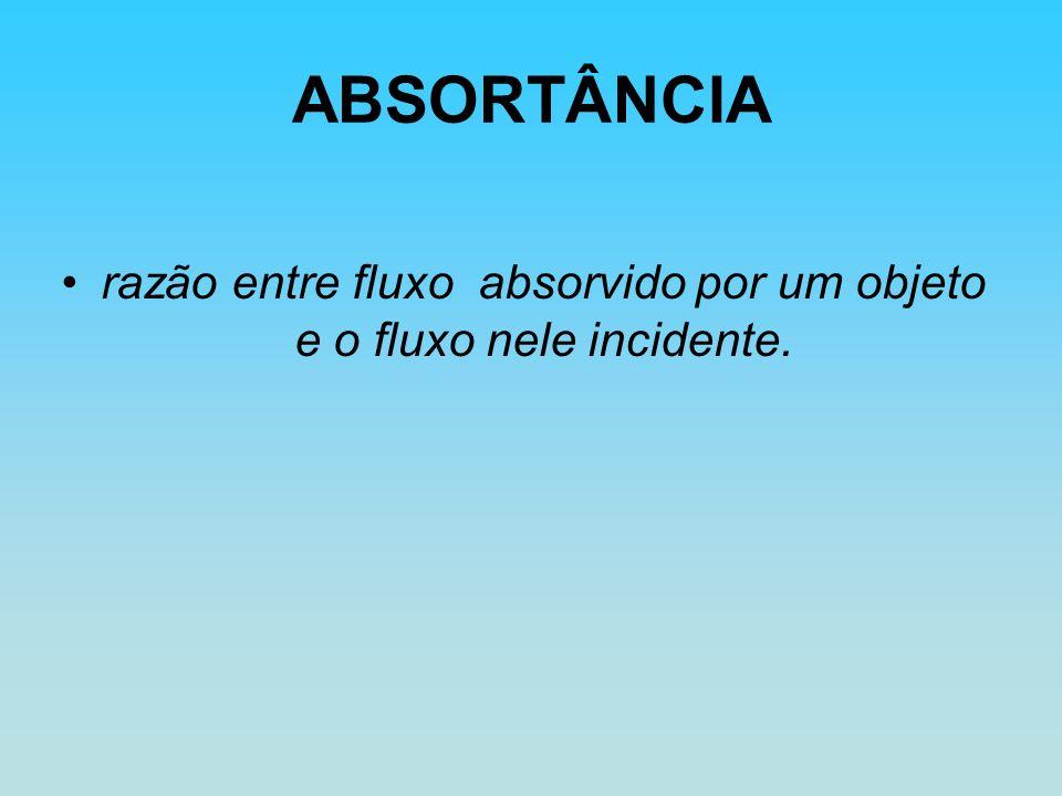 ABSORTÂNCIA razão entre fluxo absorvido por um objeto e o fluxo nele incidente.