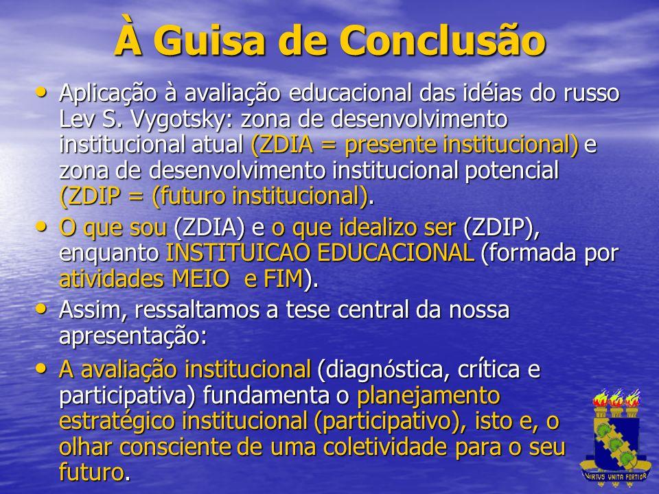 À Guisa de Conclusão Aplicação à avaliação educacional das idéias do russo Lev S. Vygotsky: zona de desenvolvimento institucional atual (ZDIA = presen
