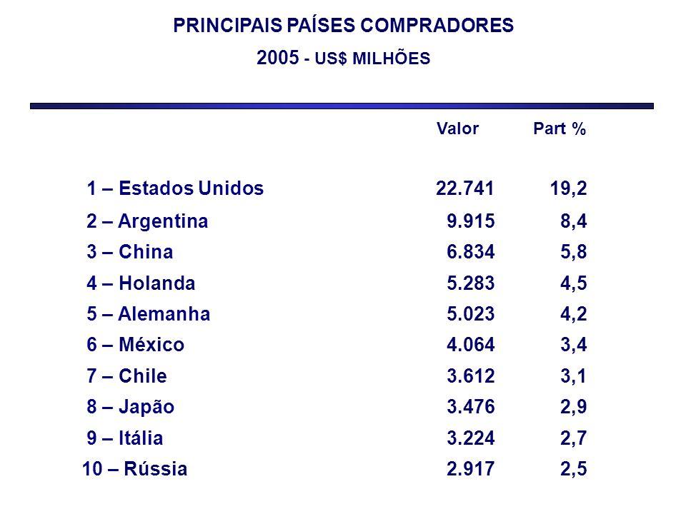 PRINCIPAIS PAÍSES COMPRADORES 2005 - US$ MILHÕES Valor Part % 1 – Estados Unidos22.74119,2 2 – Argentina9.9158,4 3 – China6.8345,8 4 – Holanda5.2834,5
