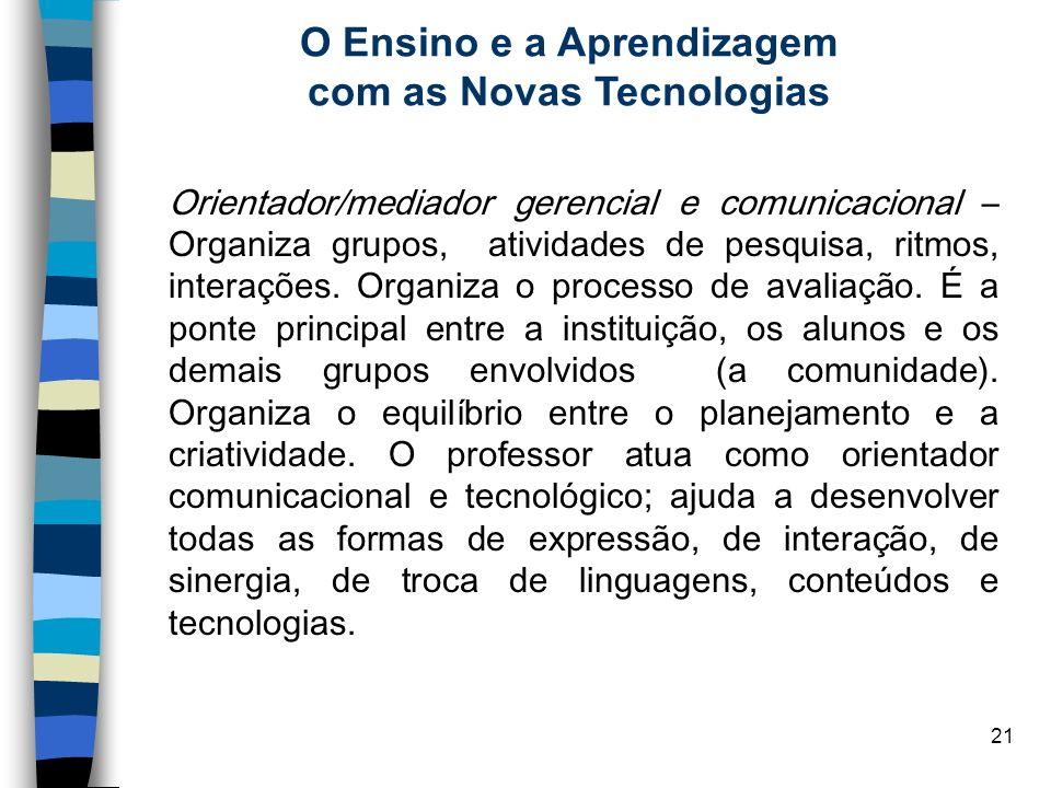 21 O Ensino e a Aprendizagem com as Novas Tecnologias Orientador/mediador gerencial e comunicacional – Organiza grupos, atividades de pesquisa, ritmos
