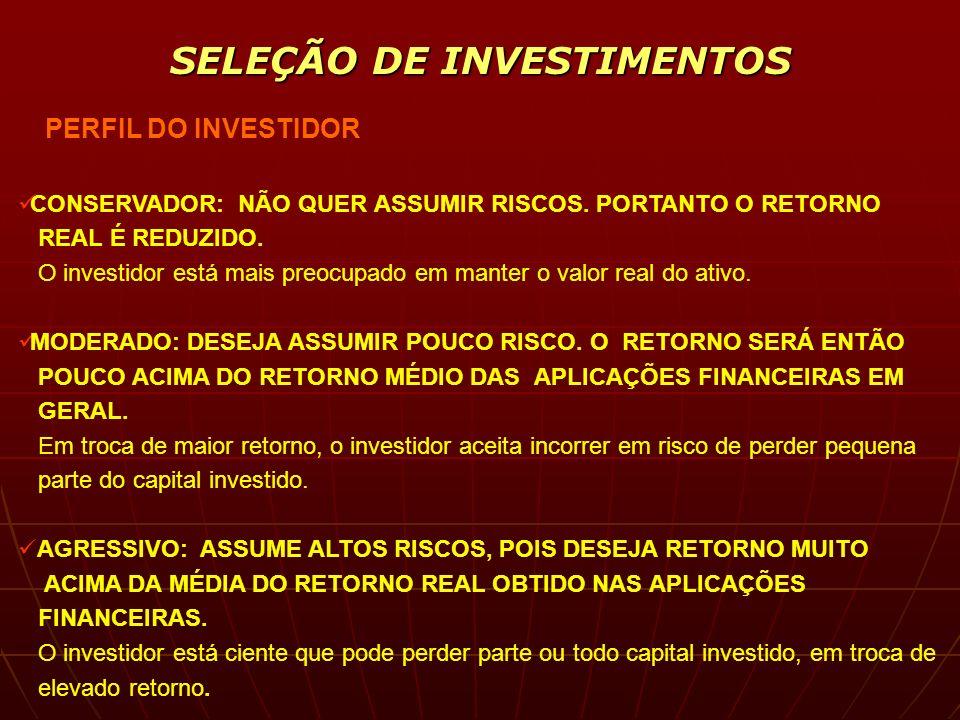 SELEÇÃO DE INVESTIMENTOS PERFIL DO INVESTIDOR CONSERVADOR = RISCO BAIXO = IMÓVEIS, OURO, MOEDAS, POUPANÇA, ETC MODERADO = RISCO MÉDIO = AÇÕES, FUNDOS, CLUBES, CDB, ETC AGRESSIVO = RISCO ALTO = FUNDOS ALAVANCADOS, DERIVATIVOS,ETC FATORES DE AVALIAÇÃO DAS ALTERNATIVAS DE INVESTIMENTO LIQUIDEZ = POTENCIALIDADE DE COMPRAR E VENDER O ATIVO SELECIONADO COM MÍNIMO DE ESFORÇO LUCRATIVIDADE = POTENCIALIDADE DE AUFERIR LUCROS COM O ATIVO SEGURANÇA = POTENCIALIDADE DE RECUPERAÇÃO DOS RECURSOS INVESTIDOS NO ATIVO EXEMPLO DE TABELA DE SUGESTÃO DA DIVERSIFICAÇÃO DO RISCO PERFIL DO INVESTIDOR - CONSERVADOR MODERADO AGRESSIVO RISCO DO ATIVO % % % BAIXO 60 40 20 MODERADO 40 50 60 ALTO - 10 20