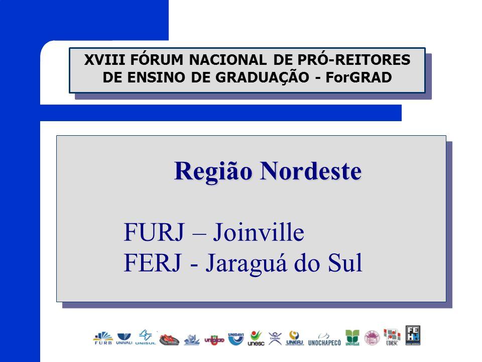 XVIII FÓRUM NACIONAL DE PRÓ-REITORES DE ENSINO DE GRADUAÇÃO - ForGRAD Região Nordeste FURJ – Joinville FERJ - Jaraguá do Sul