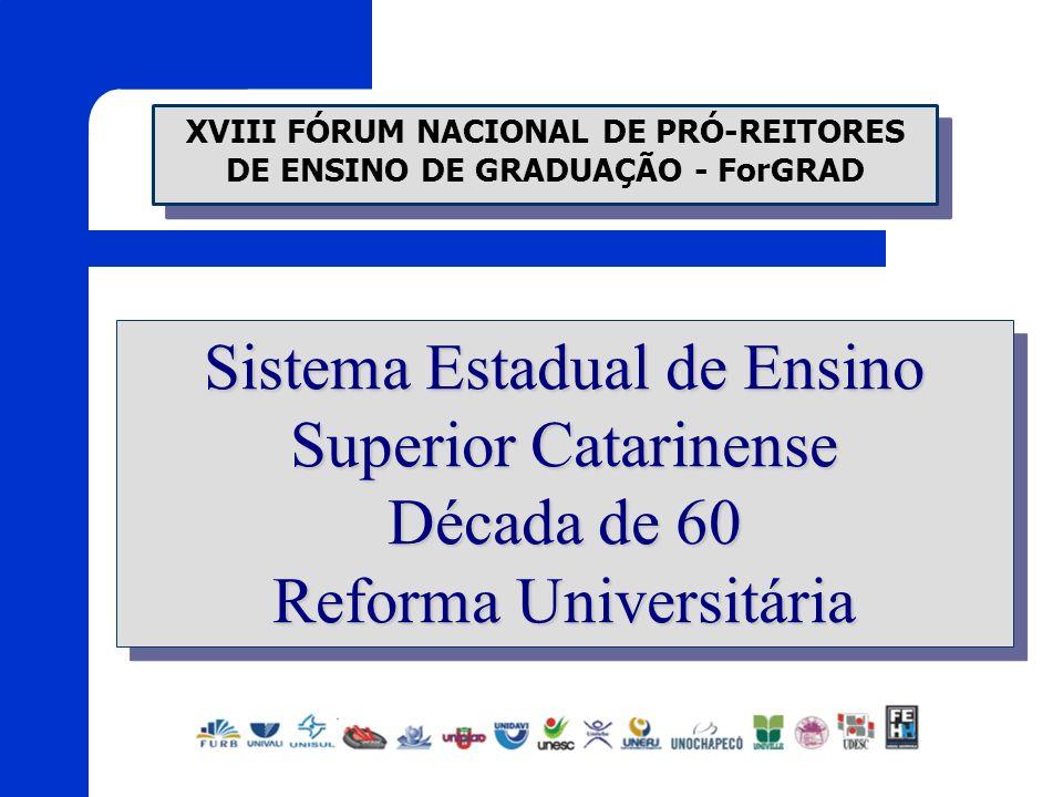 Sistema Estadual de Ensino Superior Catarinense Década de 60 Reforma Universitária