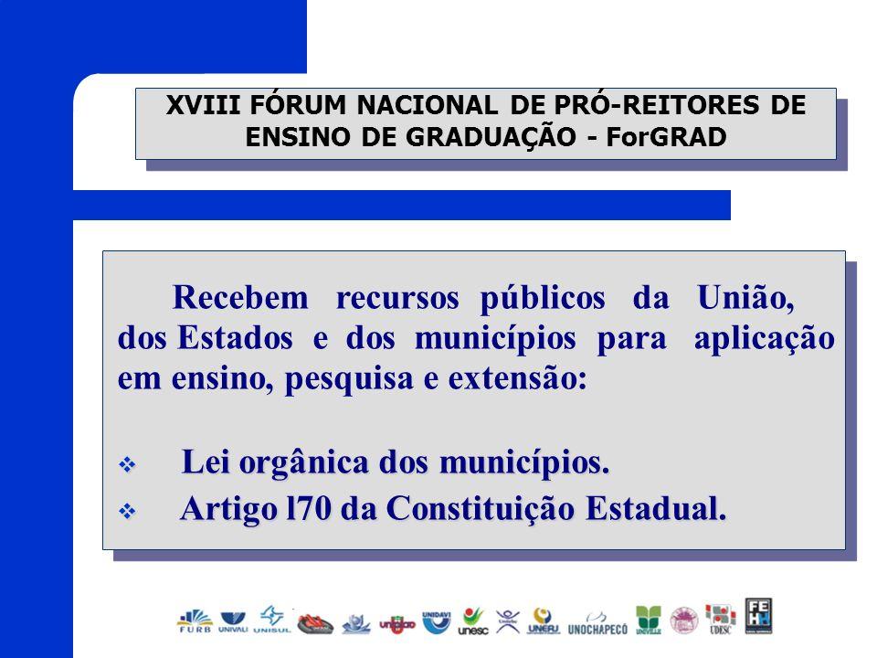 XVIII FÓRUM NACIONAL DE PRÓ-REITORES DE ENSINO DE GRADUAÇÃO - ForGRAD Recebem recursos públicos da União, dos Estados e dos municípios para aplicação