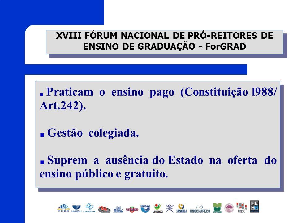 XVIII FÓRUM NACIONAL DE PRÓ-REITORES DE ENSINO DE GRADUAÇÃO - ForGRAD Praticam o ensino pago (Constituição l988/ Art.242). Gestão colegiada. Suprem a