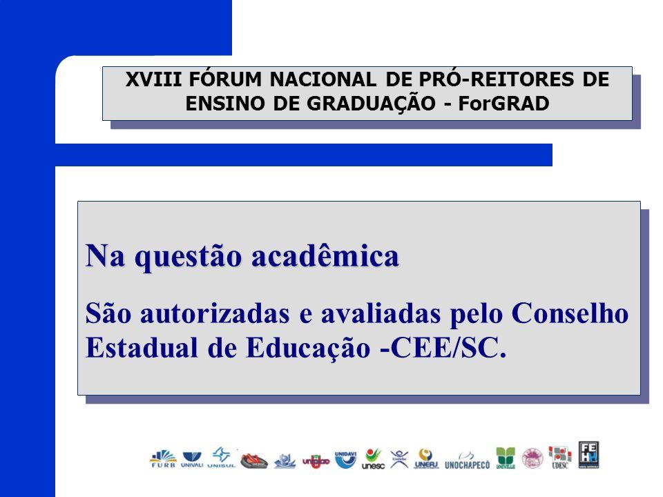 XVIII FÓRUM NACIONAL DE PRÓ-REITORES DE ENSINO DE GRADUAÇÃO - ForGRAD Na questão acadêmica São autorizadas e avaliadas pelo Conselho Estadual de Educa