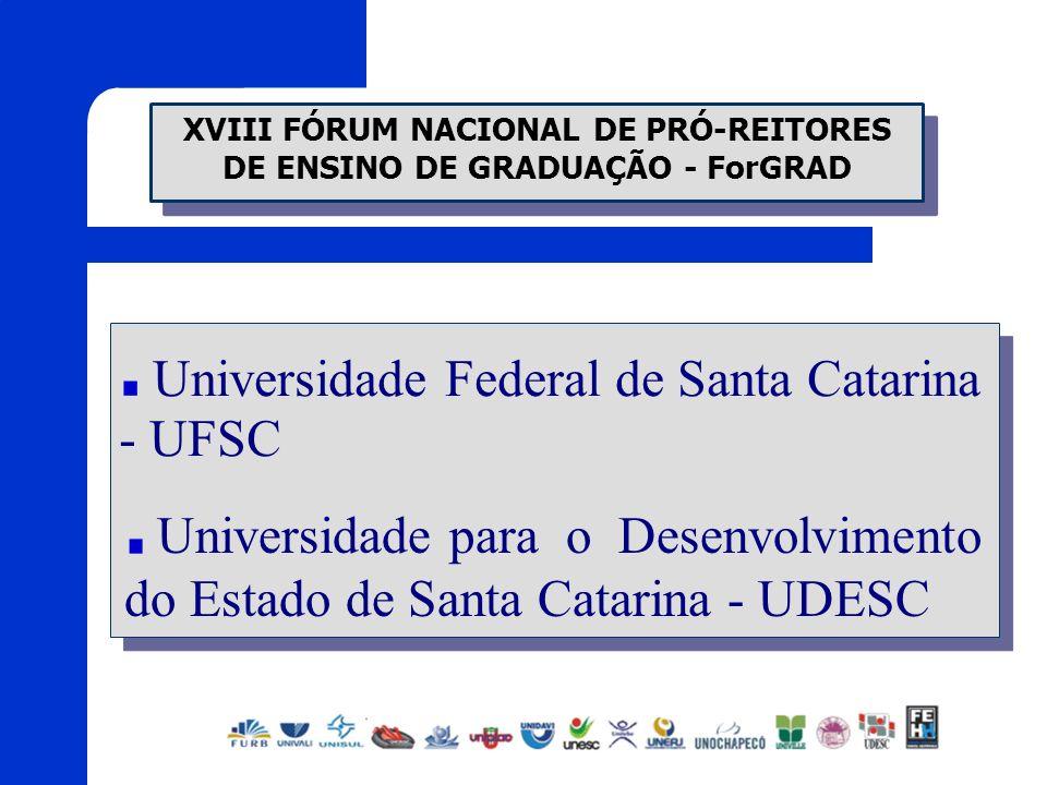 XVIII FÓRUM NACIONAL DE PRÓ-REITORES DE ENSINO DE GRADUAÇÃO - ForGRAD Universidade Federal de Santa Catarina - UFSC Universidade para o Desenvolviment