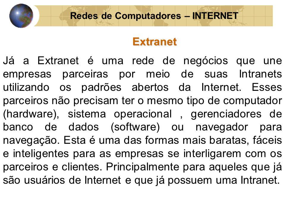 Redes de Computadores – INTERNET Extranet Já a Extranet é uma rede de negócios que une empresas parceiras por meio de suas Intranets utilizando os pad
