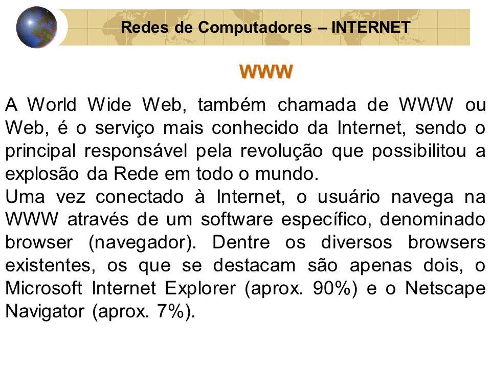 Redes de Computadores – INTERNETWWW A World Wide Web, também chamada de WWW ou Web, é o serviço mais conhecido da Internet, sendo o principal responsá