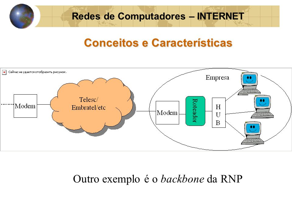Redes de Computadores – INTERNET Conceitos e Características Outro exemplo é o backbone da RNP