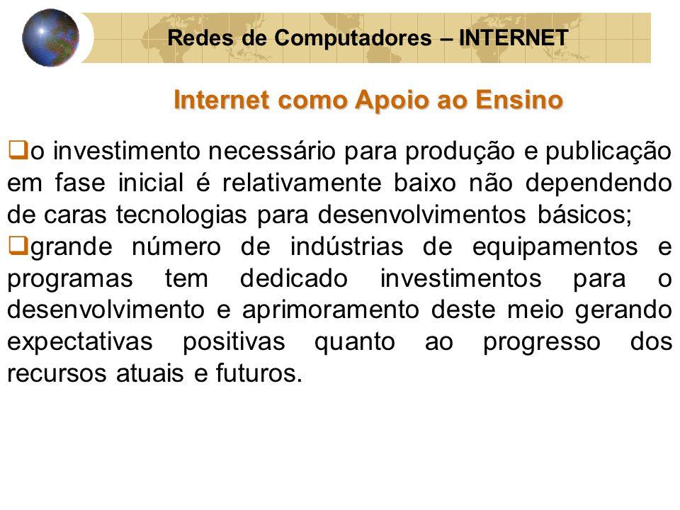 Redes de Computadores – INTERNET Internet como Apoio ao Ensino o investimento necessário para produção e publicação em fase inicial é relativamente ba