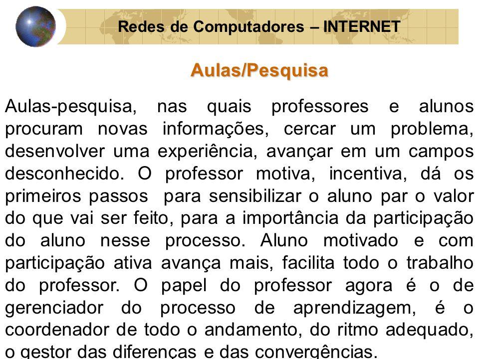 Redes de Computadores – INTERNETAulas/Pesquisa Aulas-pesquisa, nas quais professores e alunos procuram novas informações, cercar um problema, desenvol