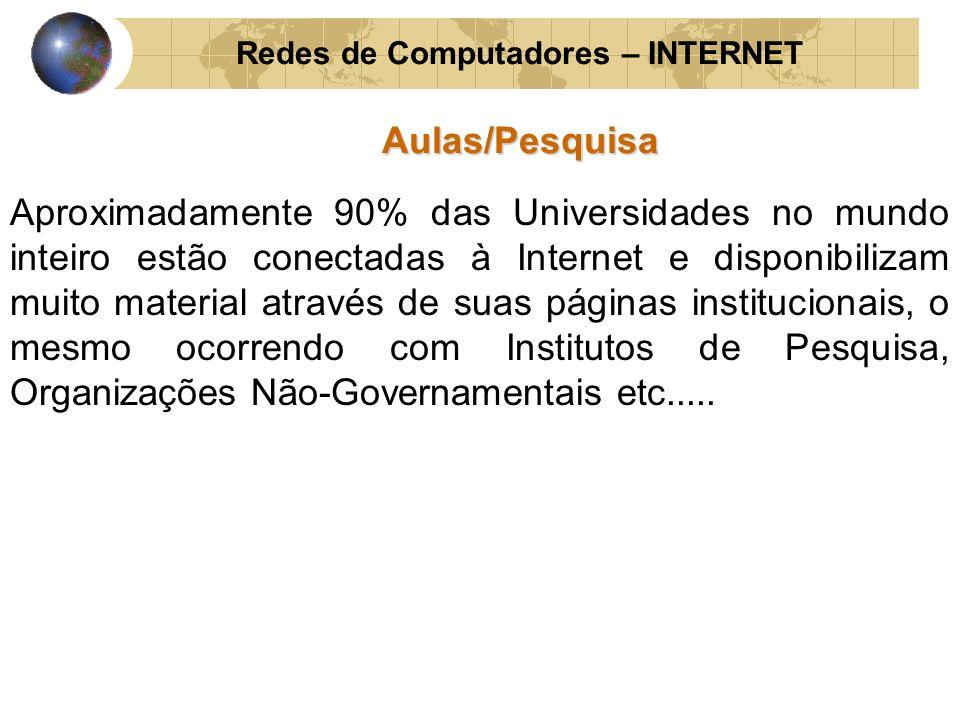 Redes de Computadores – INTERNETAulas/Pesquisa Aproximadamente 90% das Universidades no mundo inteiro estão conectadas à Internet e disponibilizam mui