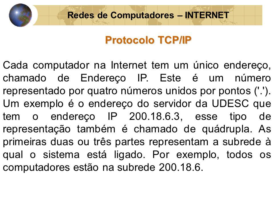 Redes de Computadores – INTERNET Protocolo TCP/IP Cada computador na Internet tem um único endereço, chamado de Endereço IP. Este é um número represen