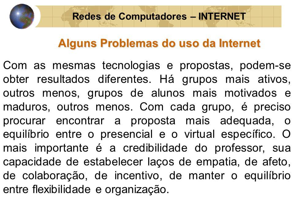 Redes de Computadores – INTERNET Alguns Problemas do uso da Internet Com as mesmas tecnologias e propostas, podem-se obter resultados diferentes. Há g