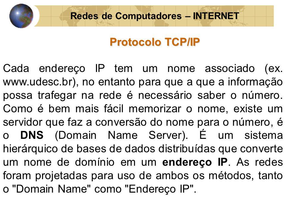 Redes de Computadores – INTERNET Protocolo TCP/IP Cada endereço IP tem um nome associado (ex. www.udesc.br), no entanto para que a que a informação po