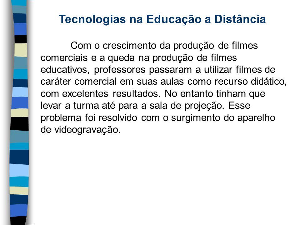 Tecnologias na Educação a Distância Com o crescimento da produção de filmes comerciais e a queda na produção de filmes educativos, professores passara