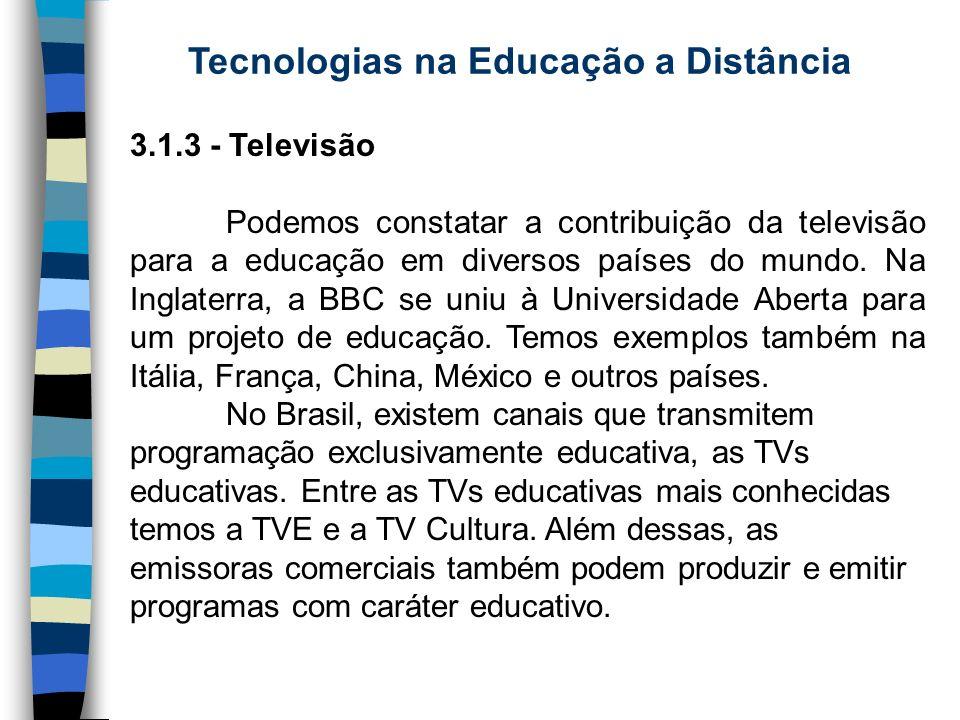 Tecnologias na Educação a Distância 3.1.3 - Televisão Podemos constatar a contribuição da televisão para a educação em diversos países do mundo. Na In
