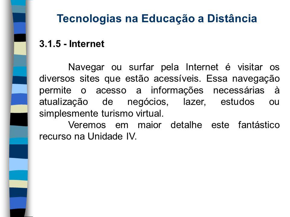 Tecnologias na Educação a Distância 3.1.5 - Internet Navegar ou surfar pela Internet é visitar os diversos sites que estão acessíveis. Essa navegação