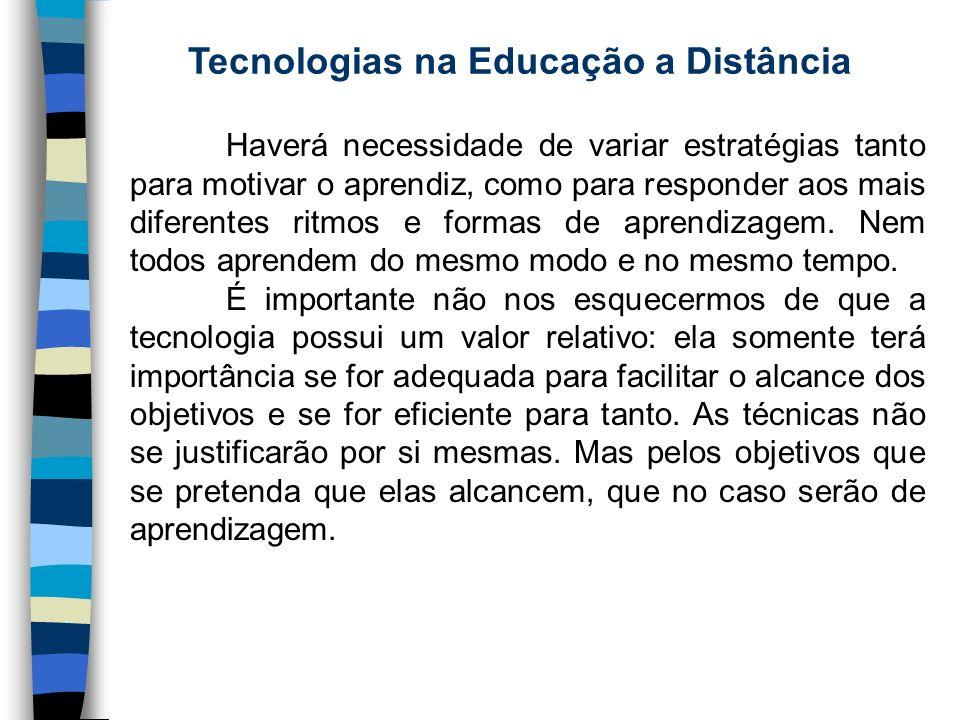 Tecnologias na Educação a Distância Haverá necessidade de variar estratégias tanto para motivar o aprendiz, como para responder aos mais diferentes ri