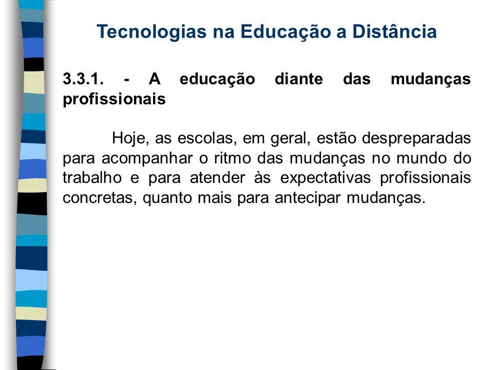 Tecnologias na Educação a Distância 3.3.1. - A educação diante das mudanças profissionais Hoje, as escolas, em geral, estão despreparadas para acompan