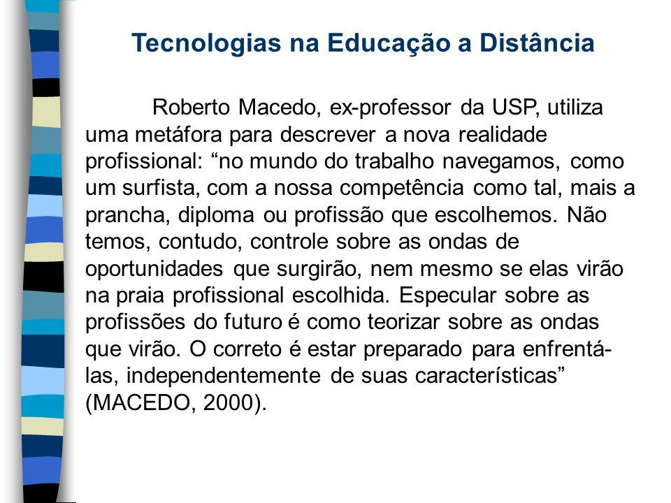 Tecnologias na Educação a Distância Roberto Macedo, ex-professor da USP, utiliza uma metáfora para descrever a nova realidade profissional: no mundo d
