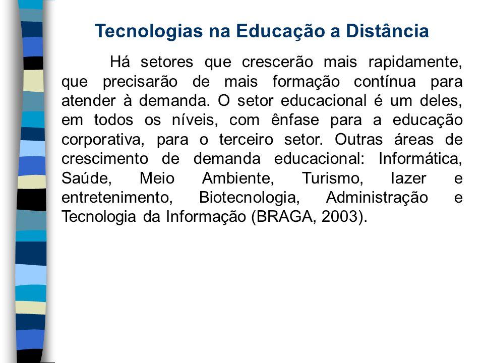 Tecnologias na Educação a Distância Há setores que crescerão mais rapidamente, que precisarão de mais formação contínua para atender à demanda. O seto