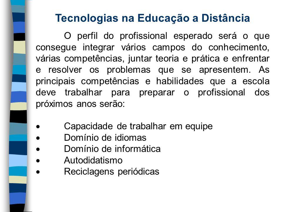 Tecnologias na Educação a Distância O perfil do profissional esperado será o que consegue integrar vários campos do conhecimento, várias competências,