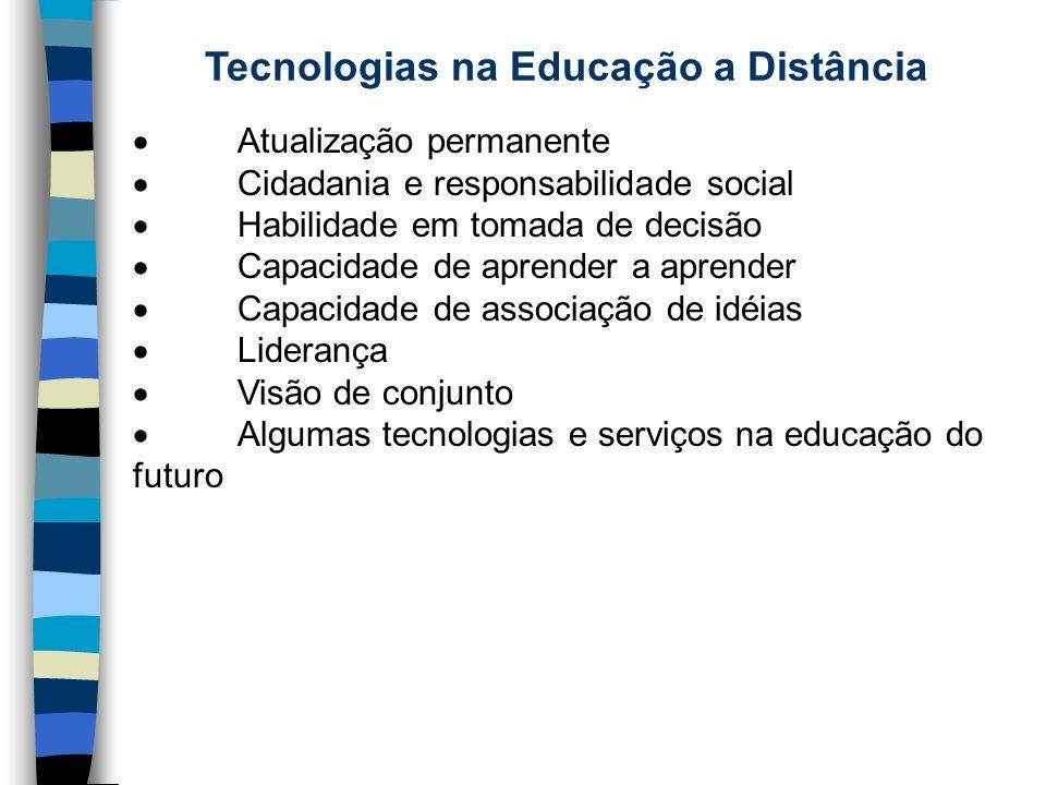 Tecnologias na Educação a Distância Atualização permanente Cidadania e responsabilidade social Habilidade em tomada de decisão Capacidade de aprender