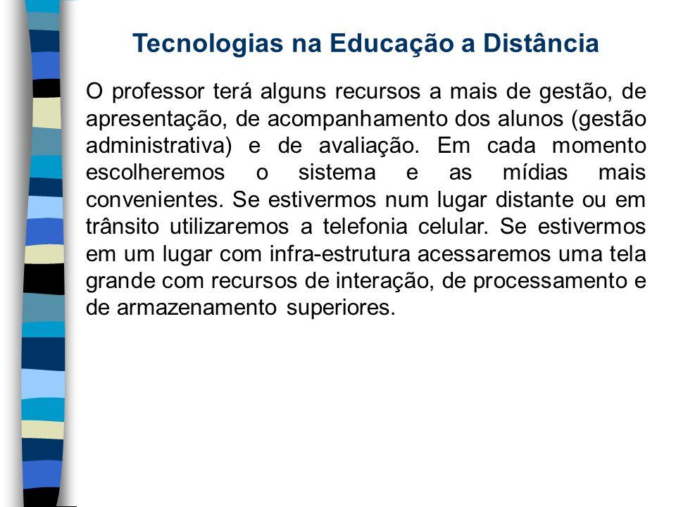 Tecnologias na Educação a Distância O professor terá alguns recursos a mais de gestão, de apresentação, de acompanhamento dos alunos (gestão administr