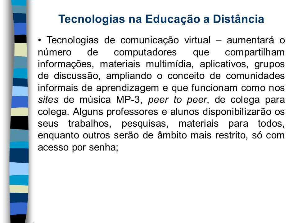 Tecnologias na Educação a Distância Tecnologias de comunicação virtual – aumentará o número de computadores que compartilham informações, materiais mu