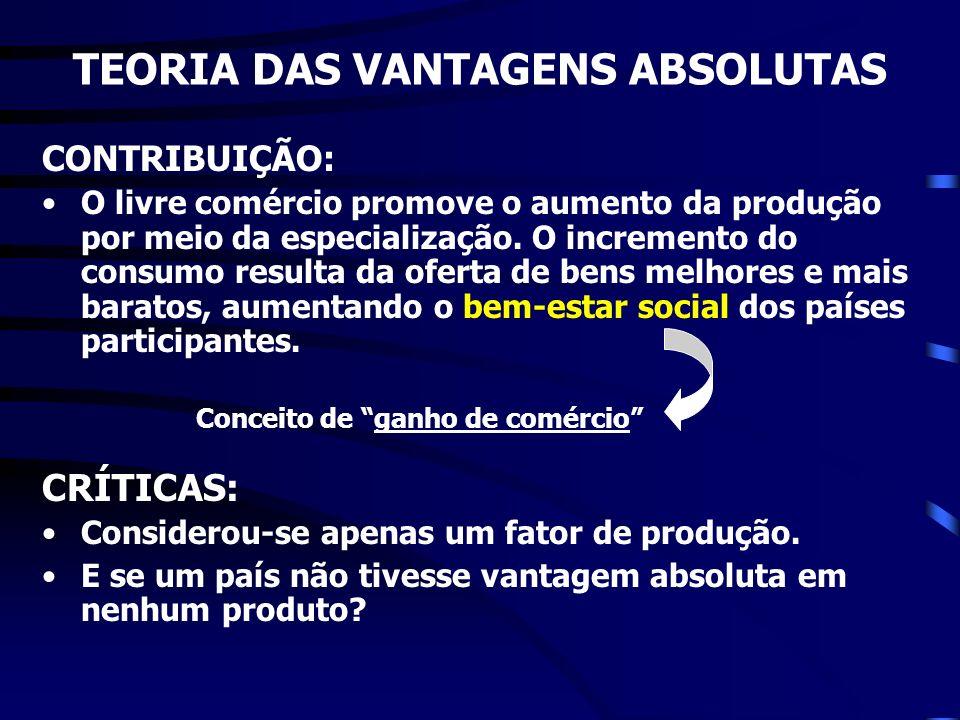 CONTRIBUIÇÃO: O livre comércio promove o aumento da produção por meio da especialização. O incremento do consumo resulta da oferta de bens melhores e