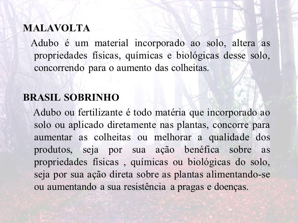 MALAVOLTA Adubo é um material incorporado ao solo, altera as propriedades físicas, químicas e biológicas desse solo, concorrendo para o aumento das colheitas.