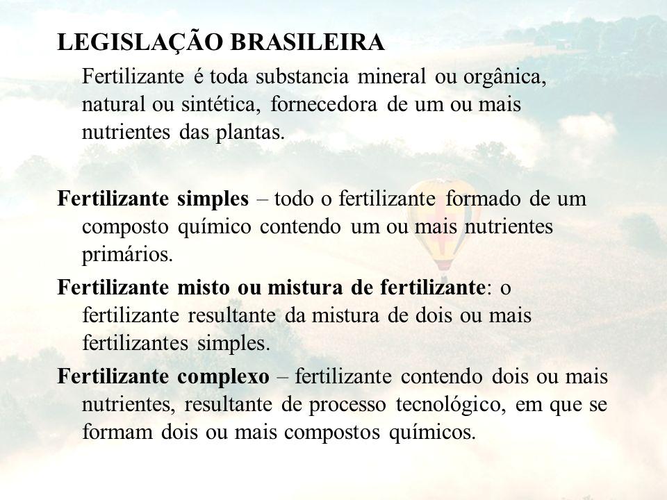 LEGISLAÇÃO BRASILEIRA Fertilizante é toda substancia mineral ou orgânica, natural ou sintética, fornecedora de um ou mais nutrientes das plantas. Fert