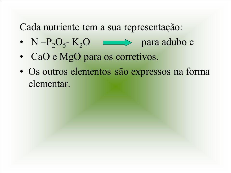 Cada nutriente tem a sua representação: N –P 2 O 5 - K 2 O para adubo e CaO e MgO para os corretivos. Os outros elementos são expressos na forma eleme