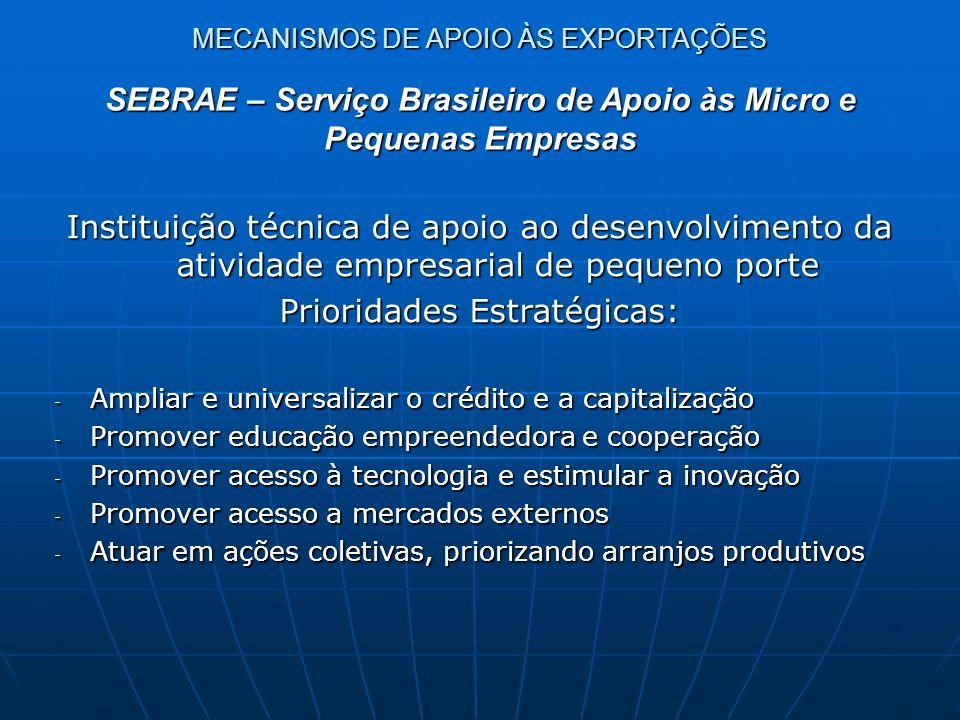 Instituição técnica de apoio ao desenvolvimento da atividade empresarial de pequeno porte Prioridades Estratégicas: - Ampliar e universalizar o crédit